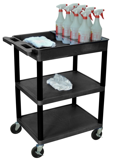 Luxor 3 Shelf Cart W 8 Bottle Organizer Professional